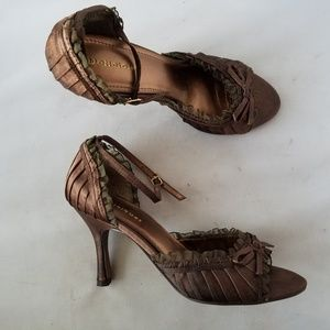 Delicious Brown Pleated Ruffle Ankle Strap Heels